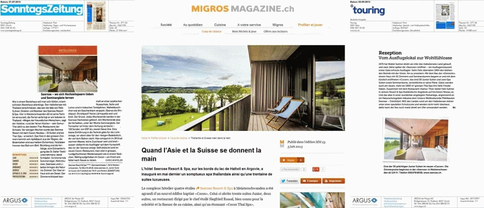Seerose Resort & Spa - Sonntagszeitung, Migros Magazin, Touring