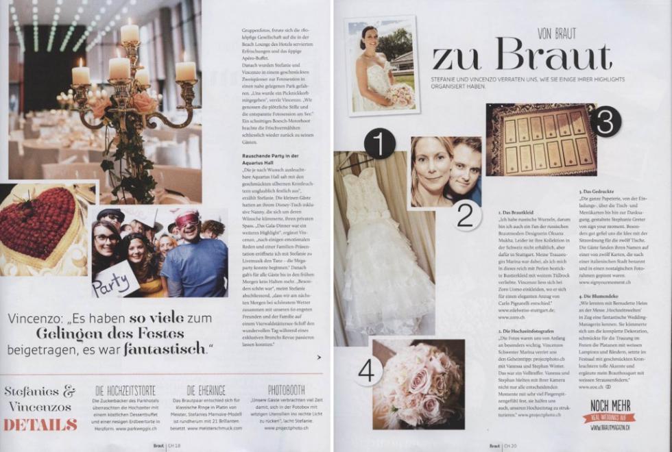 Braut & Bräutigam Ausgabe 4 -2014 projectphoto.ch