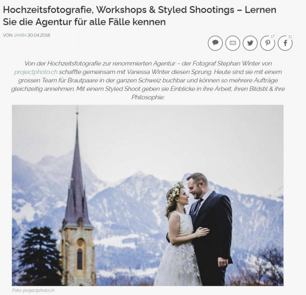 Zankyou weddings veröffentlich projectphoto.ch - von der Hochzeitsfotografie zur renommierten Agentur